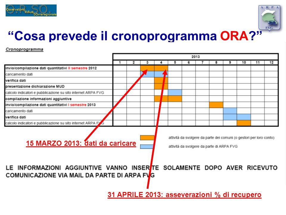 Cosa prevede il cronoprogramma ORA? 15 MARZO 2013: dati da caricare 31 APRILE 2013: asseverazioni % di recupero