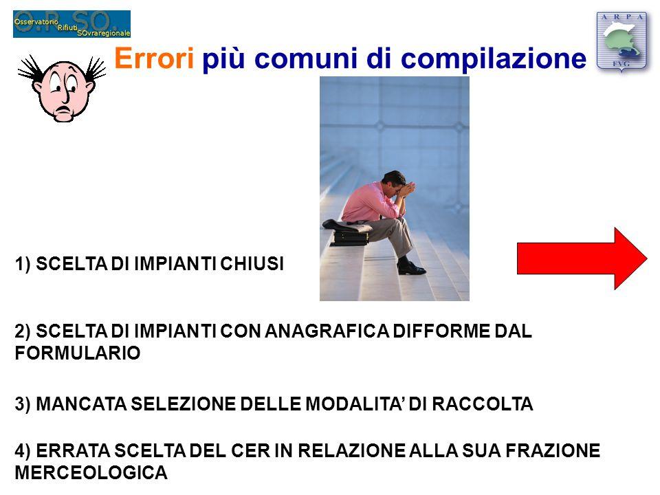 Errori più comuni di compilazione 1) ERRORI NELLINDIVIDUAZIONE DEI DESTINI DEI RIFIUTI 2) ERRORI NELLELABORAZIONE DEI DATI