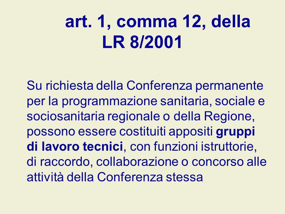 art. 1, comma 12, della LR 8/2001 Su richiesta della Conferenza permanente per la programmazione sanitaria, sociale e sociosanitaria regionale o della