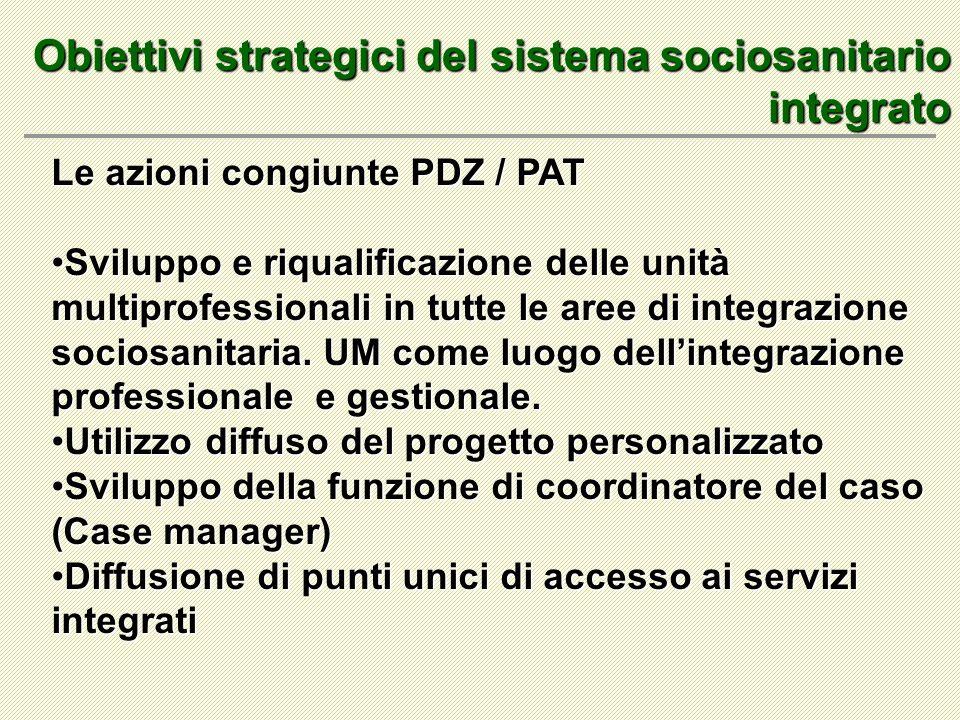 Obiettivi strategici del sistema sociosanitario integrato Le azioni congiunte PDZ / PAT Sviluppo e riqualificazione delle unità multiprofessionali in tutte le aree di integrazione sociosanitaria.