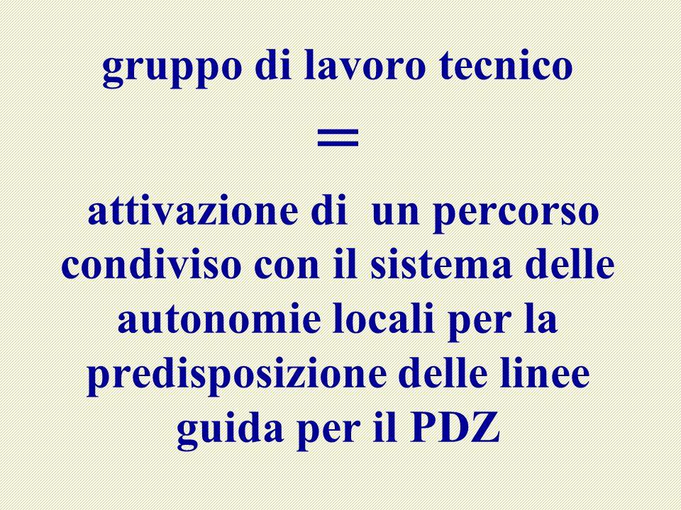 gruppo di lavoro tecnico = attivazione di un percorso condiviso con il sistema delle autonomie locali per la predisposizione delle linee guida per il PDZ