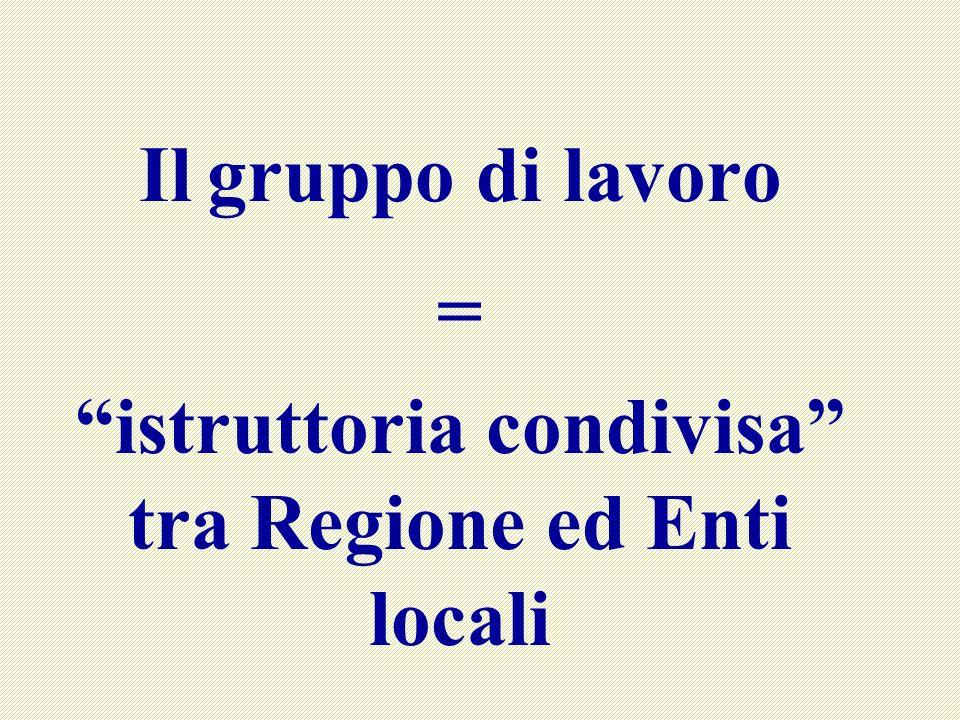 Il gruppo di lavoro = istruttoria condivisa tra Regione ed Enti locali