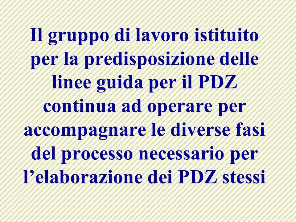 Il gruppo di lavoro istituito per la predisposizione delle linee guida per il PDZ continua ad operare per accompagnare le diverse fasi del processo necessario per lelaborazione dei PDZ stessi