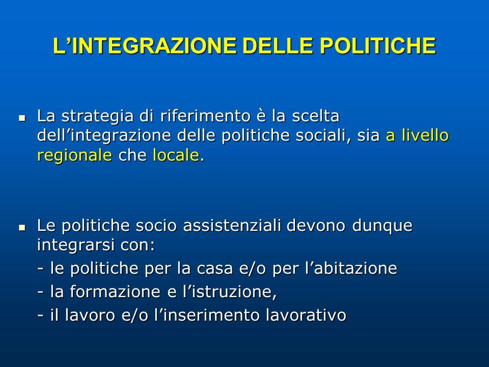 LINTEGRAZIONE DELLE POLITICHE La strategia di riferimento è la scelta dellintegrazione delle politiche sociali, sia a livello regionale che locale. La