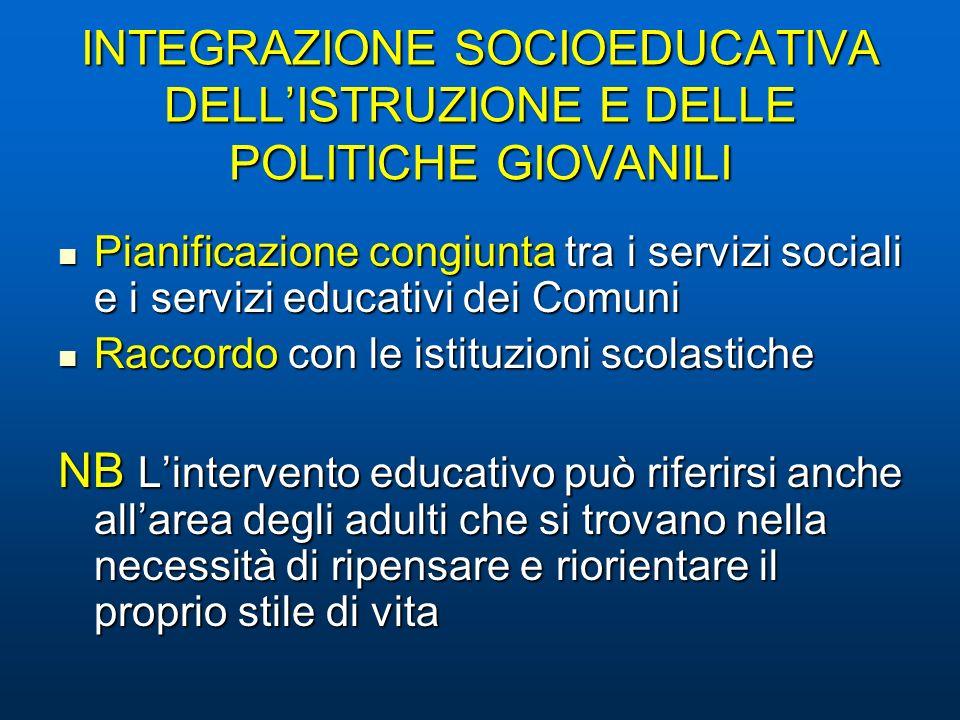 INTEGRAZIONE SOCIOEDUCATIVA DELLISTRUZIONE E DELLE POLITICHE GIOVANILI Pianificazione congiunta tra i servizi sociali e i servizi educativi dei Comuni