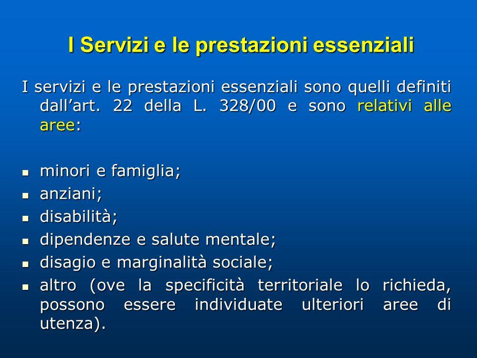 I Servizi e le prestazioni essenziali I Servizi e le prestazioni essenziali I servizi e le prestazioni essenziali sono quelli definiti dallart. 22 del