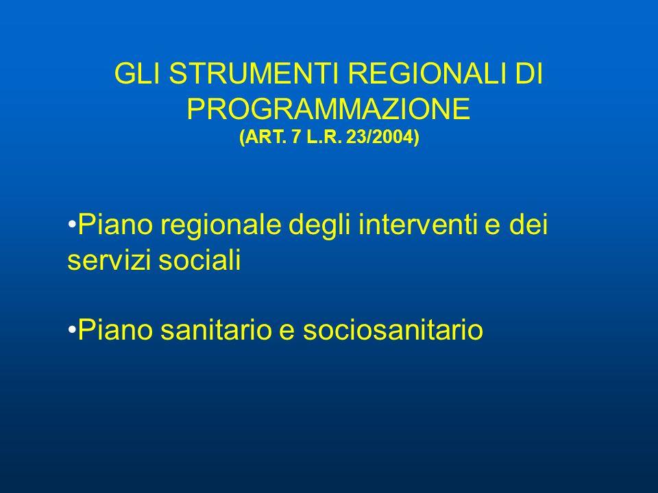GLI STRUMENTI REGIONALI DI PROGRAMMAZIONE (ART. 7 L.R. 23/2004) Piano regionale degli interventi e dei servizi sociali Piano sanitario e sociosanitari