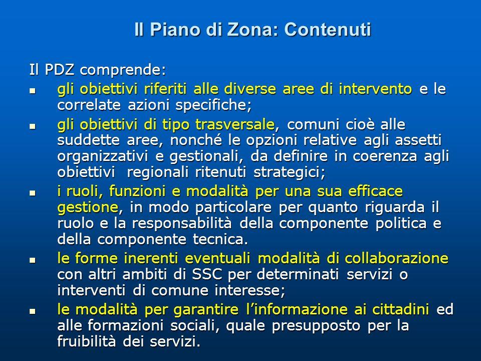 Il Piano di Zona: Contenuti Il PDZ comprende: gli obiettivi riferiti alle diverse aree di intervento e le correlate azioni specifiche; gli obiettivi r