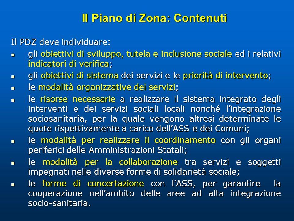 Il Piano di Zona: Contenuti Il PDZ deve individuare: gli obiettivi di sviluppo, tutela e inclusione sociale ed i relativi indicatori di verifica; gli