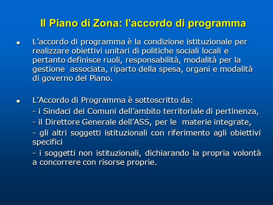 Il Piano di Zona: laccordo di programma Laccordo di programma è la condizione istituzionale per realizzare obiettivi unitari di politiche sociali loca