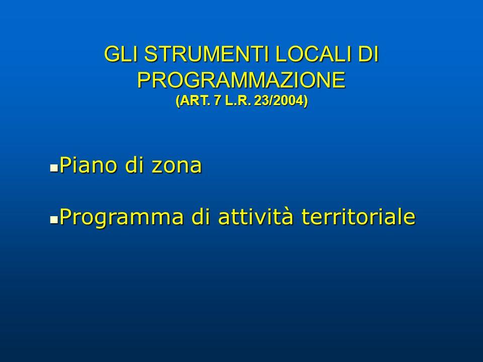 GLI STRUMENTI LOCALI DI PROGRAMMAZIONE (ART. 7 L.R. 23/2004) Piano di zona Piano di zona Programma di attività territoriale Programma di attività terr