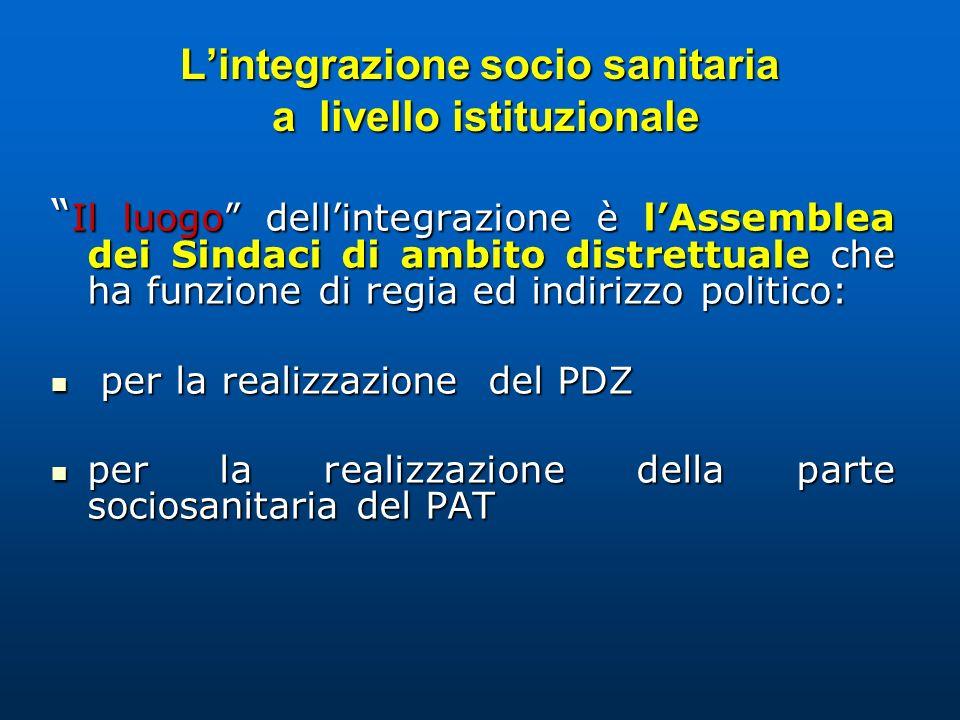Lintegrazione socio sanitaria a livello istituzionale Il luogo dellintegrazione è lAssemblea dei Sindaci di ambito distrettuale che ha funzione di reg