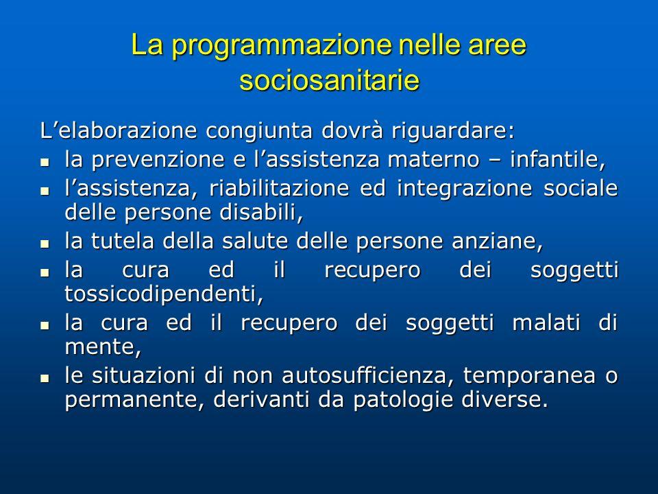 La programmazione nelle aree sociosanitarie Lelaborazione congiunta dovrà riguardare: la prevenzione e lassistenza materno – infantile, la prevenzione