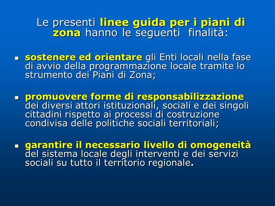 Le presenti linee guida per i piani di zona hanno le seguenti finalità: sostenere ed orientare gli Enti locali nella fase di avvio della programmazion