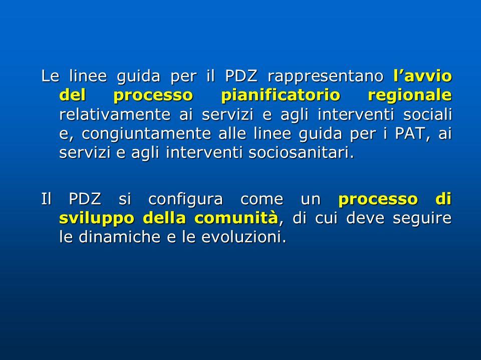 Le linee guida per il PDZ rappresentano lavvio del processo pianificatorio regionale relativamente ai servizi e agli interventi sociali e, congiuntame