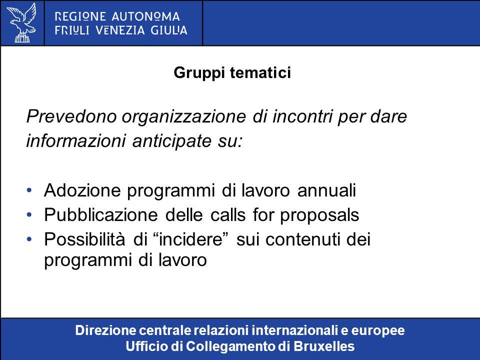 Direzione centrale relazioni internazionali e europee Ufficio di Collegamento di Bruxelles Programma di lavoro (1): Documento fondamentale in quanto stabilisce: le priorità da rispettare e le azioni da intraprendere i criteri relativi alla percentuale del contributo finanziario della Comunità i criteri di selezione