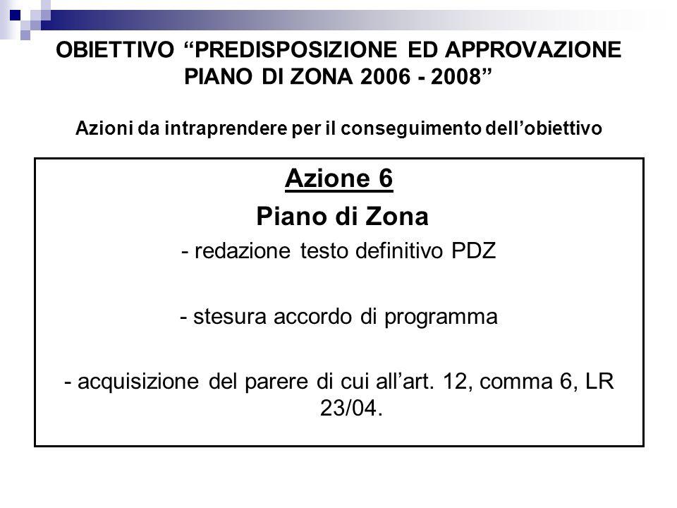 OBIETTIVO PREDISPOSIZIONE ED APPROVAZIONE PIANO DI ZONA 2006 - 2008 Azioni da intraprendere per il conseguimento dellobiettivo Azione 7 Accordo di programma: - approvazione del PDZ tramite la sottoscrizione dellaccordo di programma - invio documentazione alla Regione - avvio del procedimento per l eventuale adeguamento della convenzione relativa alla gestione associata tra i Comuni a quanto previsto dalla LR 23/04 e dal Piano di Zona di competenza