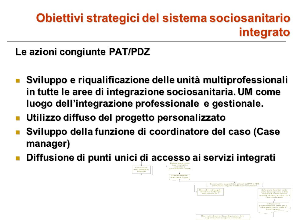Obiettivi strategici del sistema sociosanitario integrato Le azioni congiunte PAT/PDZ Sviluppo e riqualificazione delle unità multiprofessionali in tu