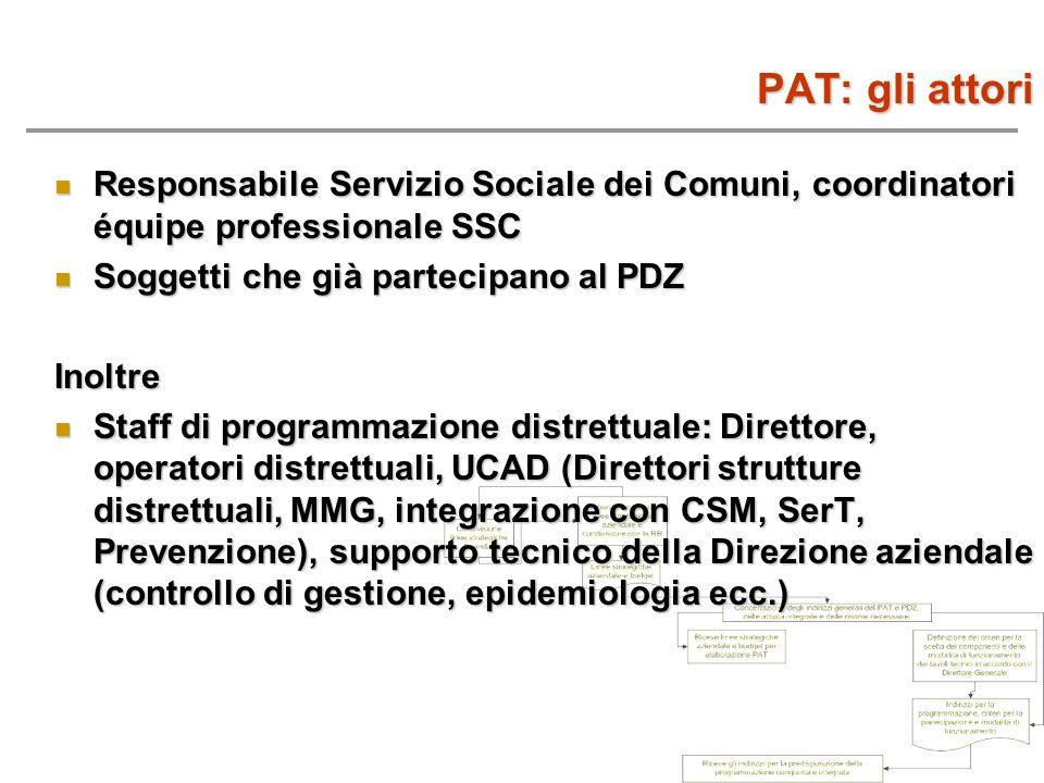PAT: gli attori Responsabile Servizio Sociale dei Comuni, coordinatori équipe professionale SSC Responsabile Servizio Sociale dei Comuni, coordinatori