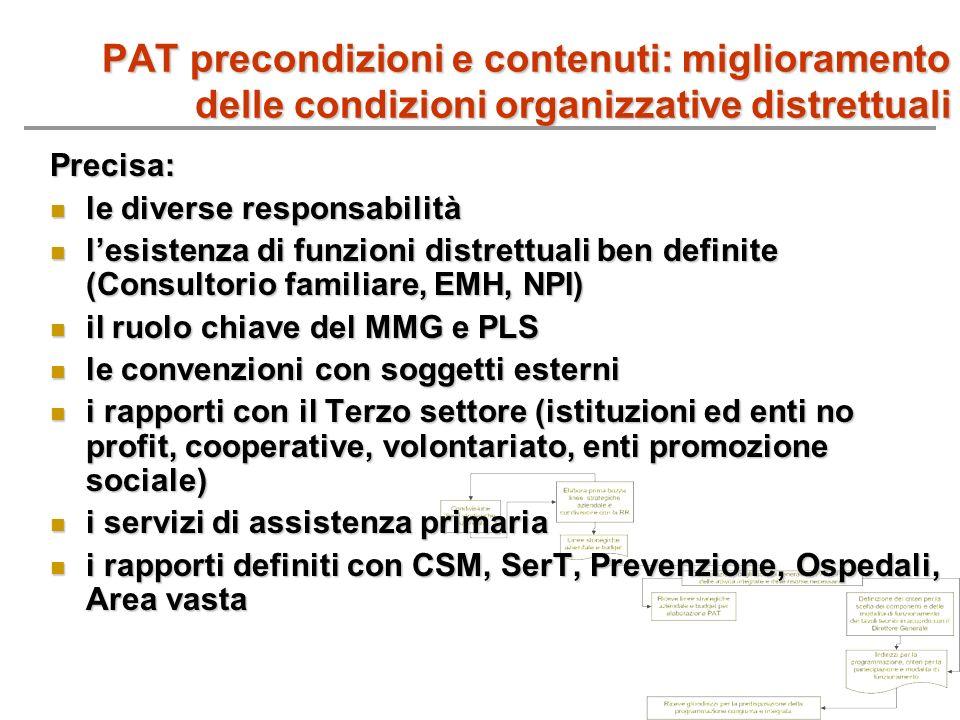 PAT precondizioni e contenuti: miglioramento delle condizioni organizzative distrettuali Precisa: le diverse responsabilità le diverse responsabilità