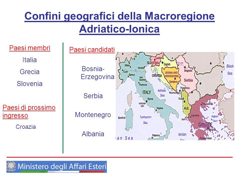 Confini geografici della Macroregione Adriatico-Ionica Paesi candidati Bosnia- Erzegovina Serbia Montenegro Albania Paesi membri Italia Grecia Sloveni