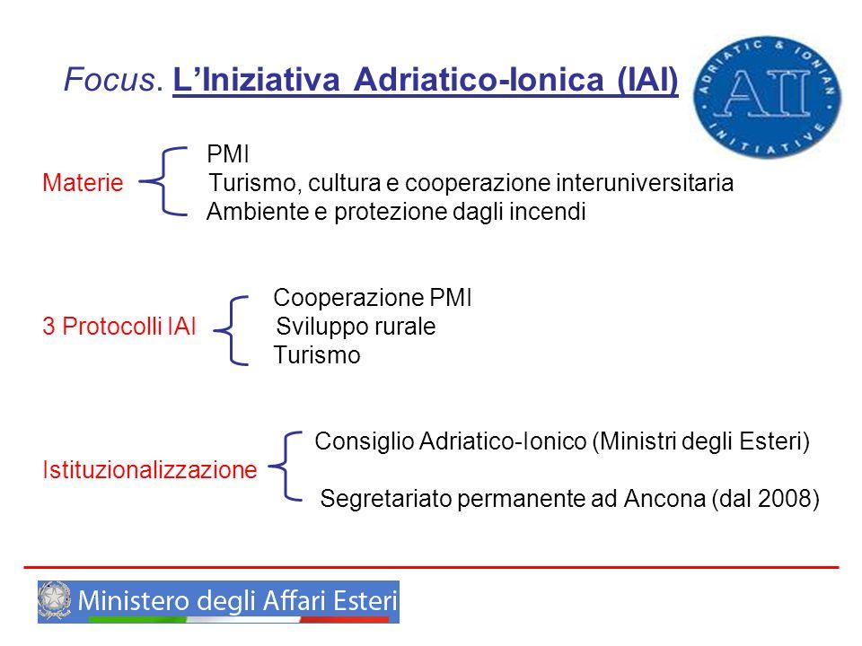 Focus. LIniziativa Adriatico-Ionica (IAI) PMI Materie Turismo, cultura e cooperazione interuniversitaria Ambiente e protezione dagli incendi Cooperazi