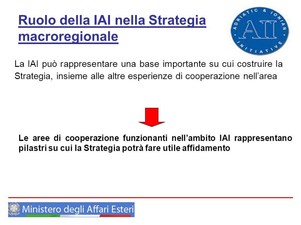 Ruolo della IAI nella Strategia macroregionale La IAI può rappresentare una base importante su cui costruire la Strategia, insieme alle altre esperien