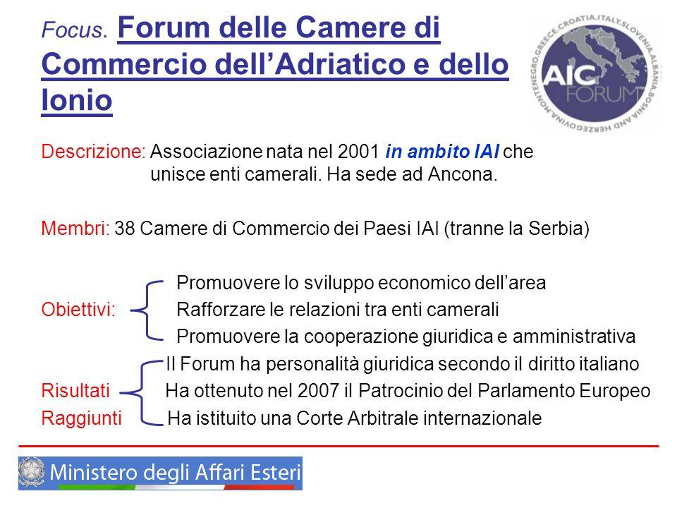 Focus. Forum delle Camere di Commercio dellAdriatico e dello Ionio Descrizione: Associazione nata nel 2001 in ambito IAI che unisce enti camerali. Ha