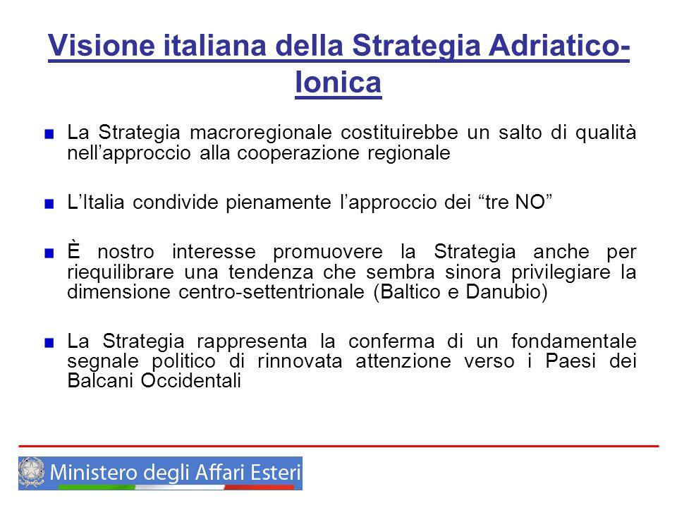 Visione italiana della Strategia Adriatico- Ionica La Strategia macroregionale costituirebbe un salto di qualità nellapproccio alla cooperazione regio