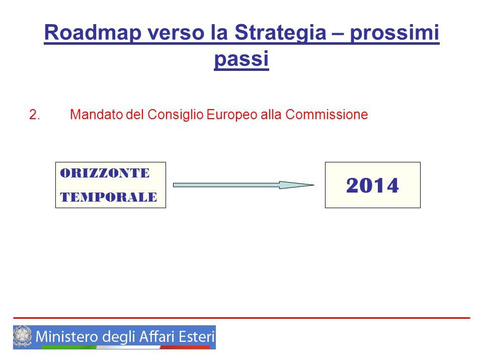 Roadmap verso la Strategia – prossimi passi 2. Mandato del Consiglio Europeo alla Commissione ORIZZONTE TEMPORALE 2014