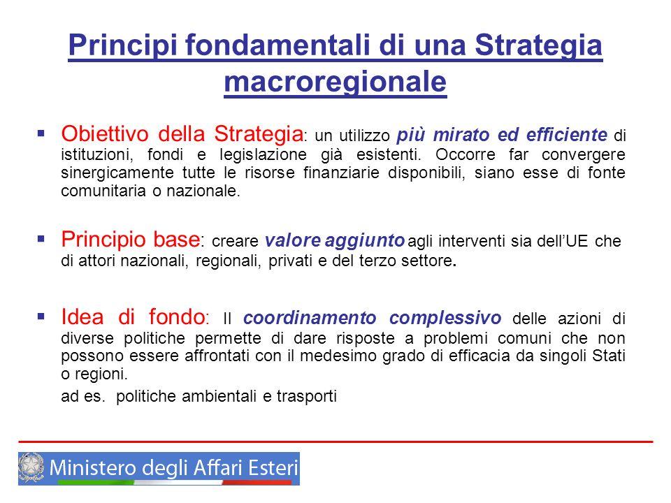 Principi fondamentali di una Strategia macroregionale Obiettivo della Strategia : un utilizzo più mirato ed efficiente di istituzioni, fondi e legisla