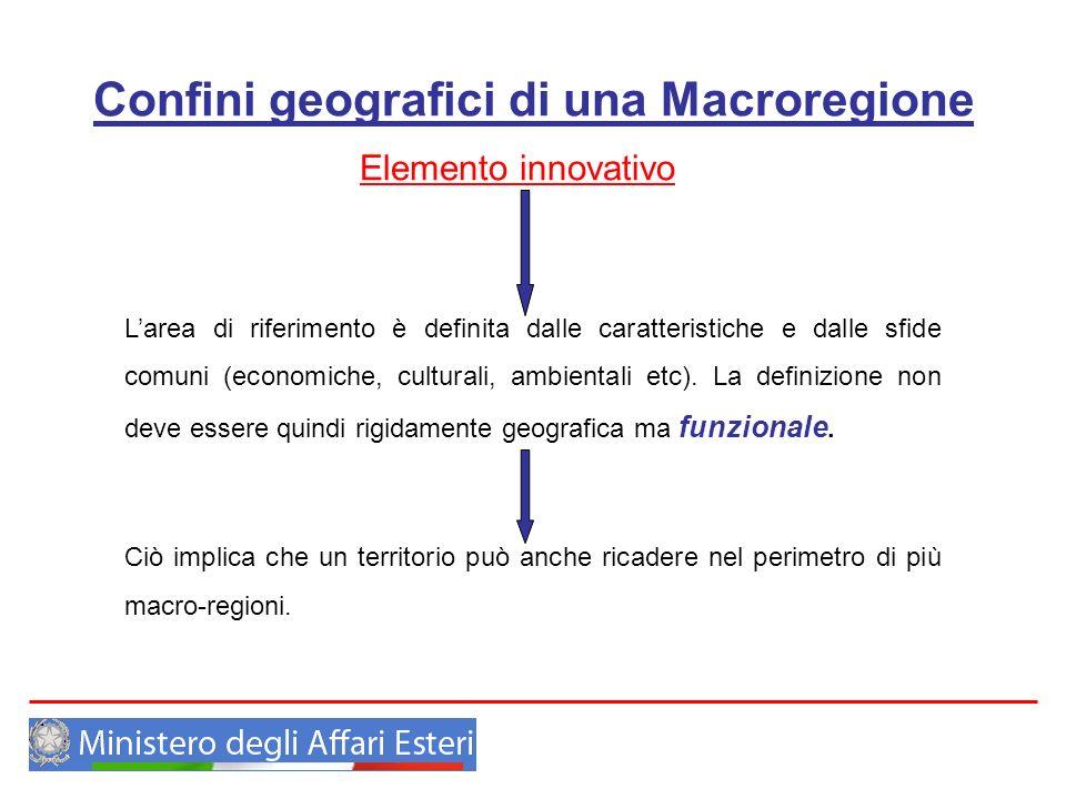 Confini geografici di una Macroregione Elemento innovativo Larea di riferimento è definita dalle caratteristiche e dalle sfide comuni (economiche, cul