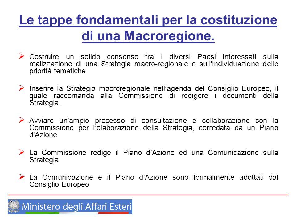 Le tappe fondamentali per la costituzione di una Macroregione. Costruire un solido consenso tra i diversi Paesi interessati sulla realizzazione di una