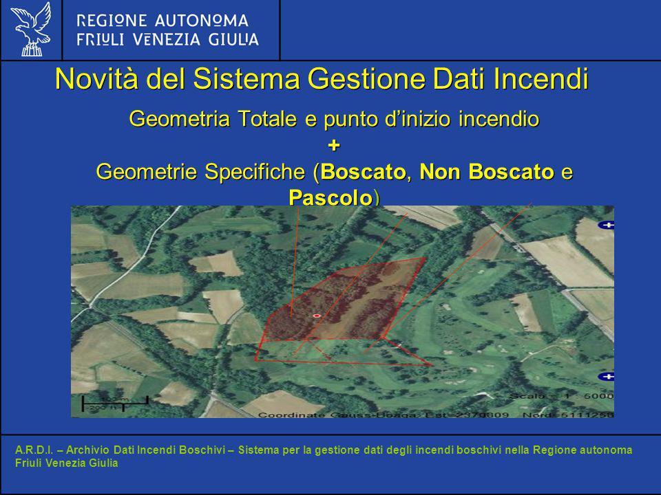 Geometria Totale e punto dinizio incendio + Geometrie Specifiche (Boscato, Non Boscato e Pascolo) A.R.D.I.
