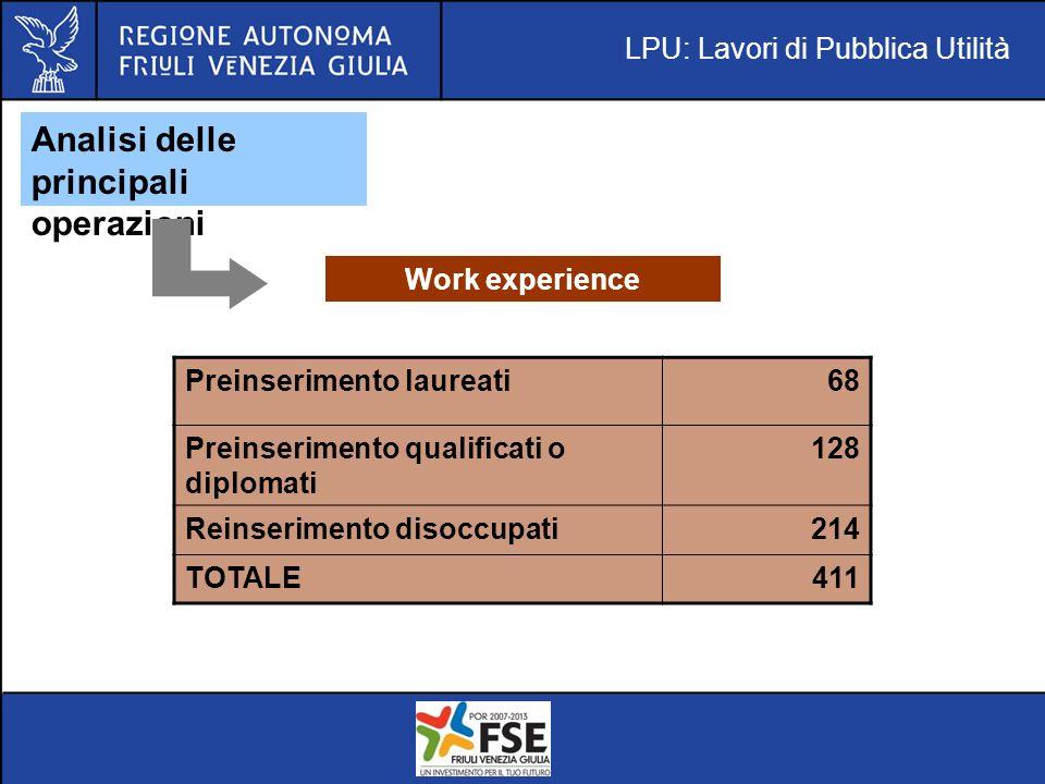 LPU: Lavori di Pubblica Utilità Analisi delle principali operazioni Work experience Preinserimento laureati68 Preinserimento qualificati o diplomati 128 Reinserimento disoccupati214 TOTALE411