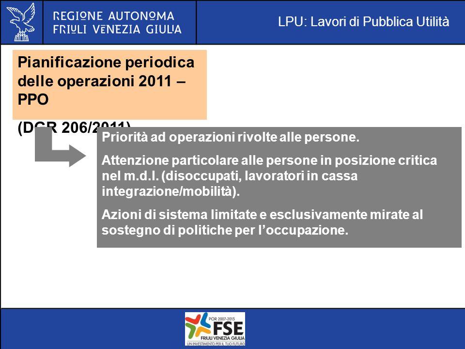 LPU: Lavori di Pubblica Utilità Pianificazione periodica delle operazioni 2011 – PPO (DGR 206/2011) Priorità ad operazioni rivolte alle persone.