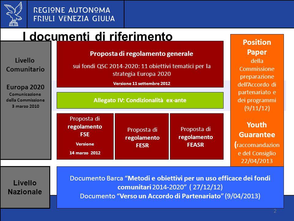 I I documenti di riferimento 2 Proposta di regolamento generale sui fondi QSC 2014-2020: 11 obiettivi tematici per la strategia Europa 2020 Versione 1