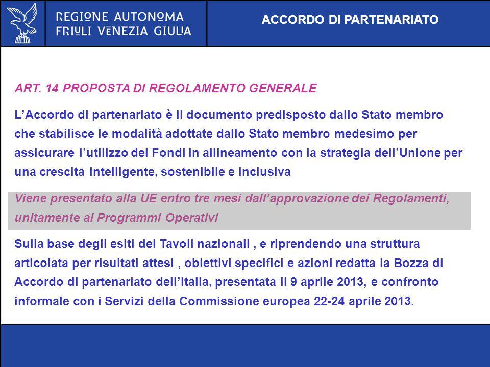 ART. 14 PROPOSTA DI REGOLAMENTO GENERALE LAccordo di partenariato è il documento predisposto dallo Stato membro che stabilisce le modalità adottate da