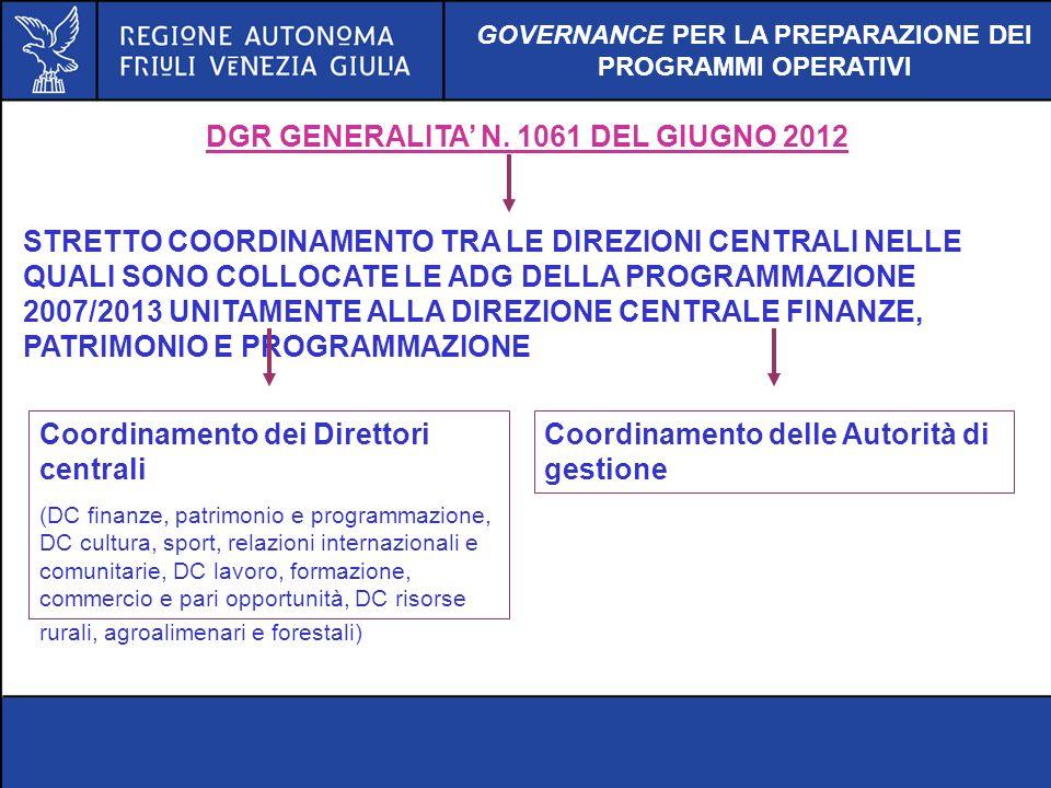 DGR GENERALITA N. 1061 DEL GIUGNO 2012 STRETTO COORDINAMENTO TRA LE DIREZIONI CENTRALI NELLE QUALI SONO COLLOCATE LE ADG DELLA PROGRAMMAZIONE 2007/201