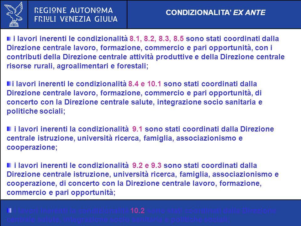 CONDIZIONALITA EX ANTE i lavori inerenti le condizionalità 8.1, 8.2, 8.3, 8.5 sono stati coordinati dalla Direzione centrale lavoro, formazione, comme