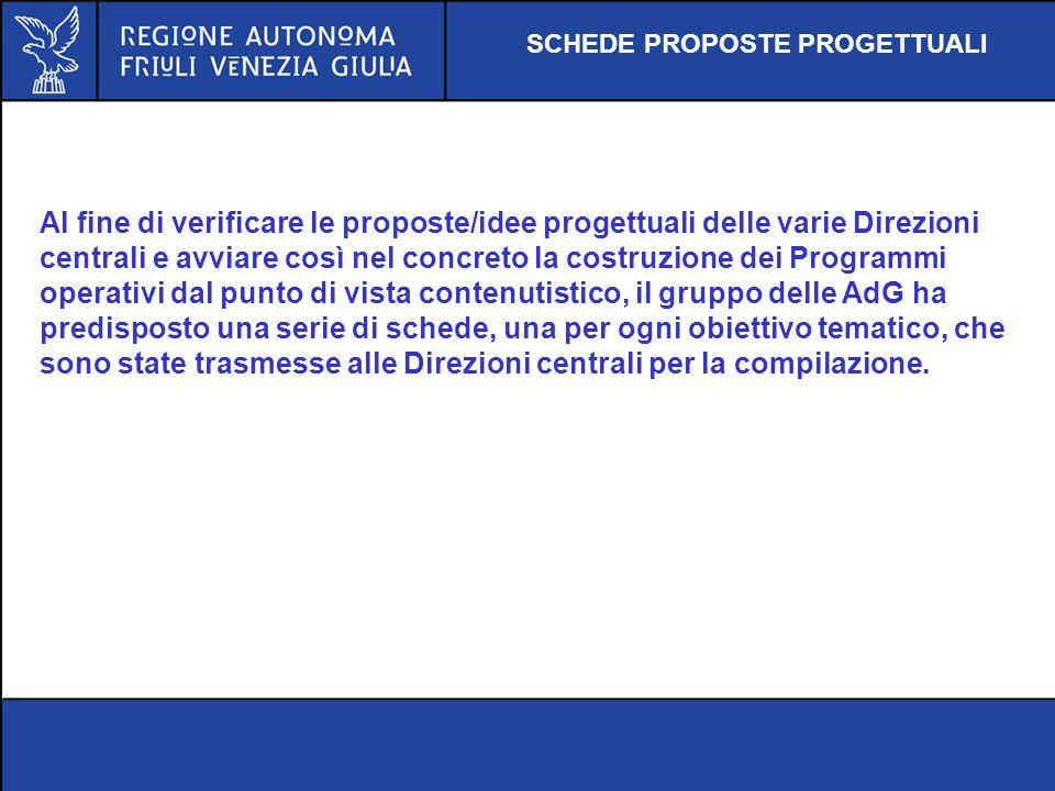 Al fine di verificare le proposte/idee progettuali delle varie Direzioni centrali e avviare così nel concreto la costruzione dei Programmi operativi d