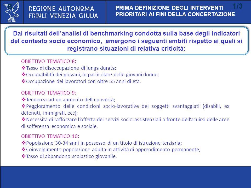 B. 1/3 PRIMA DEFINIZIONE DEGLI INTERVENTI PRIORITARI AI FINI DELLA CONCERTAZIONE Dai risultati dellanalisi di benchmarking condotta sulla base degli i