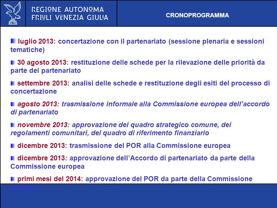 luglio 2013: concertazione con il partenariato (sessione plenaria e sessioni tematiche) 30 agosto 2013: restituzione delle schede per la rilevazione d