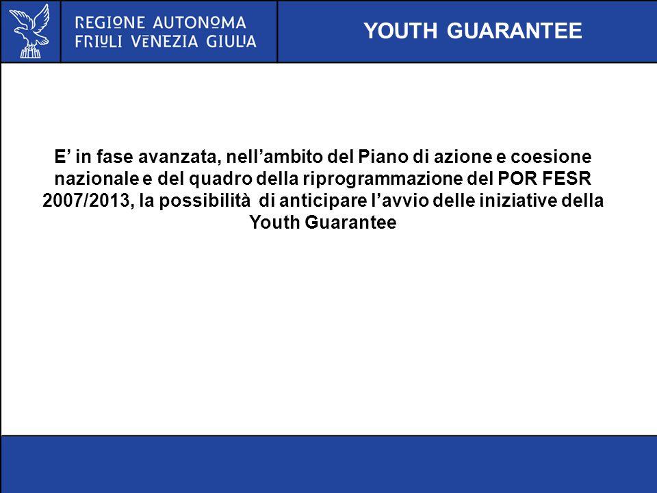 YOUTH GUARANTEE E in fase avanzata, nellambito del Piano di azione e coesione nazionale e del quadro della riprogrammazione del POR FESR 2007/2013, la