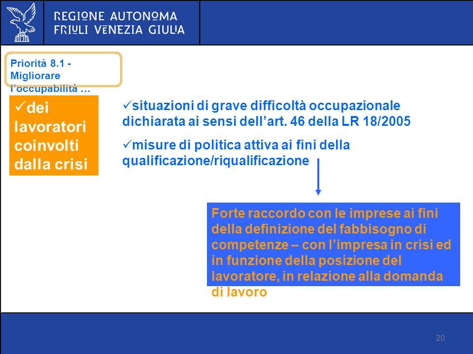 20 Proposta di regolamento FSE Versione 14 marzo 2012 dei lavoratori coinvolti dalla crisi situazioni di grave difficoltà occupazionale dichiarata ai sensi dellart.