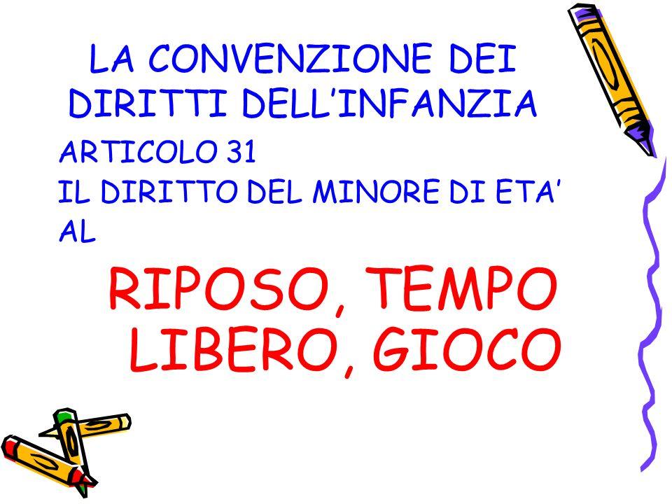 LA CONVENZIONE DEI DIRITTI DELLINFANZIA ARTICOLO 31 IL DIRITTO DEL MINORE DI ETA AL RIPOSO, TEMPO LIBERO, GIOCO