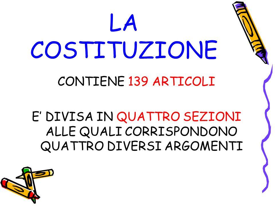 LA COSTITUZIONE CONTIENE 139 ARTICOLI E DIVISA IN QUATTRO SEZIONI ALLE QUALI CORRISPONDONO QUATTRO DIVERSI ARGOMENTI