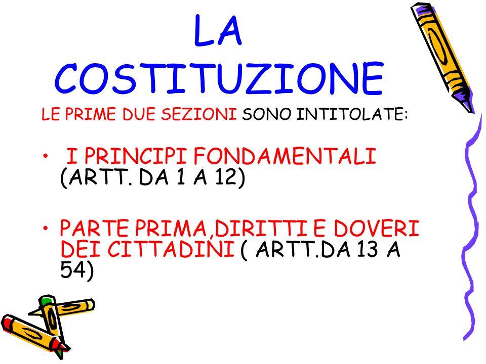 LA COSTITUZIONE LE PRIME DUE SEZIONI SONO INTITOLATE: I PRINCIPI FONDAMENTALI (ARTT. DA 1 A 12) PARTE PRIMA,DIRITTI E DOVERI DEI CITTADINI ( ARTT.DA 1