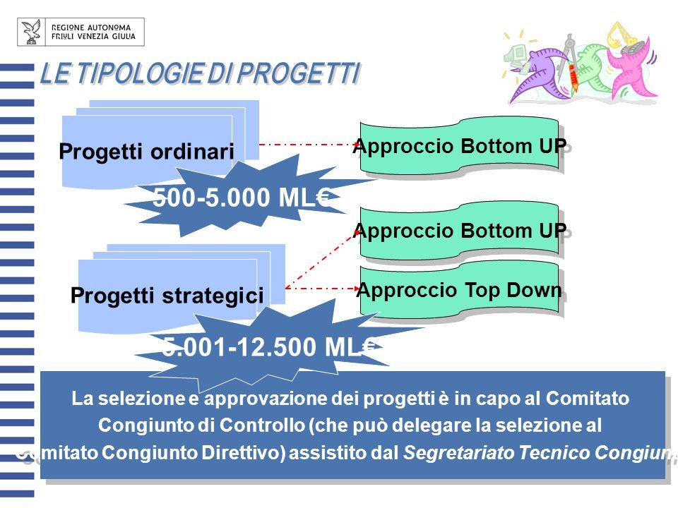 Progetti ordinari Progetti strategici Approccio Bottom UP Approccio Top Down Approccio Bottom UP La selezione e approvazione dei progetti è in capo al