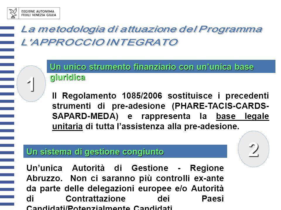 Il Regolamento 1085/2006 sostituisce i precedenti strumenti di pre-adesione (PHARE-TACIS-CARDS- SAPARD-MEDA) e rappresenta la base legale unitaria di